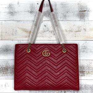 Gucci Red Quilted Medium Marmont Tote 524578 Bag